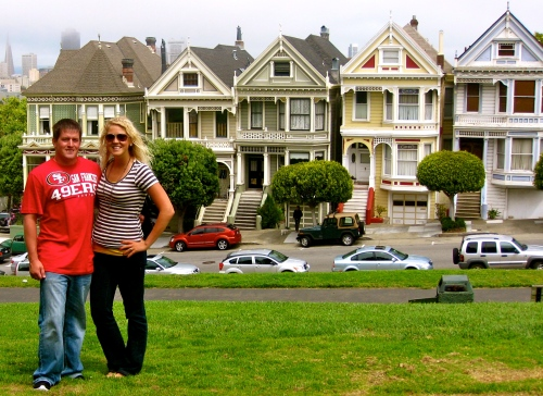 Husband & Julie in front of the Painted Ladies