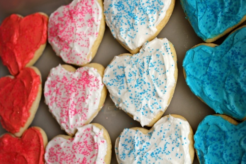 pink & blue sugar cookies